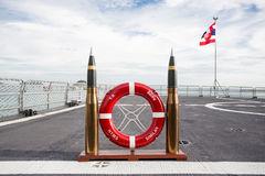 Thailand battleship. The cannonball and life ring at receiving area on the battleship Stock Photography