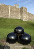 Cannonballs And Castle Stock Photo