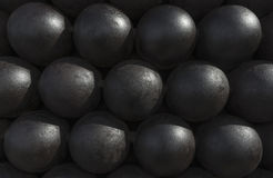 Cannonballs or cannon balls stack texture, pattern or background Stock Photo