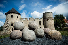Cannonballs with castle background Royalty Free Stock Photography