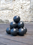 Cannonballs in display Royalty Free Stock Photos