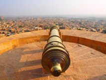 Cannone alla fortificazione di Jaisalmer Fotografia Stock
