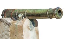Cannone antichissimo della nave su bianco Fotografia Stock