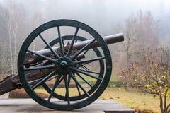 Cannone della fanteria dal portone del museo del castello di Peles fotografia stock libera da diritti