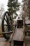 Cannone della fanteria dal portone del museo del castello di Peles Immagine Stock