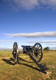 Cannone di guerra civile nel campo di battaglia di Gettysburg dell'indicatore luminoso di primo mattino, Fotografia Stock