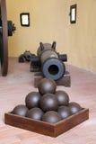Cannone e palle di cannone del castello del Lichtenstein Fotografia Stock
