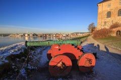 Cannone in fortificazione, Oslo, Norvegia fotografia stock