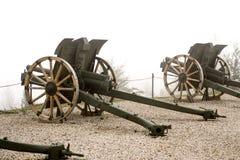 Cannone italiano autentico su un fondo nebbioso bianco immagini stock libere da diritti