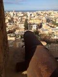 Cannone nella finestra della cittadella Fotografia Stock