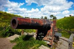 Cannone nella fortezza di Suomenlinna fotografia stock
