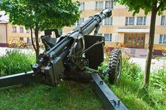 Cannone in questione nel combattimento urbano Immagine Stock