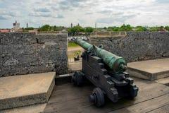 Cannone su gundeck in Castillo de San Marcos Fort 5 fotografie stock libere da diritti