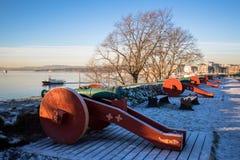 Cannoni a Hovedoya a Oslo fotografia stock libera da diritti