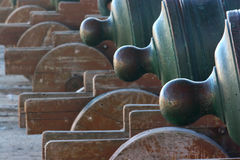 Cannons. Close-up of a group of old cannons Royalty Free Stock Photography