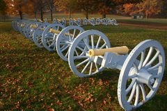 Cannons. In the morning light at Vally Forge Park, PA Royalty Free Stock Images