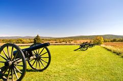 Cannons at Antietam - 3. A line of Civil War cannon stands guard at the Antietam National Battlefield, Sharpsburg, Maryland Stock Photography
