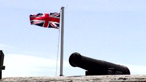 Cannons, Artillery, Weapons, British Flag stock footage