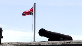 Cannons, Artillery, Weapons, British Flag stock video