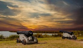 Cannons At Sunset Royalty Free Stock Photography