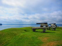 Cannons blockhouse national historic site at St Andrews By-the-Sea New Brunswick. View of Cannons at blockhouse national historic site at St-Andews By-the-sea stock photo