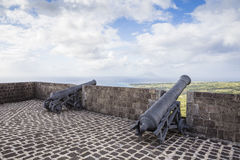 Cannons at Brimstone Hill Fortress on Saint Kitts Stock Photo