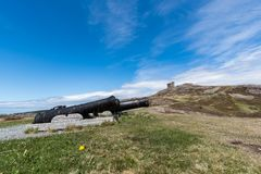 Cannons and Cabot Tower on Signal Hill, St. John`s, Newfoundland Royalty Free Stock Photo