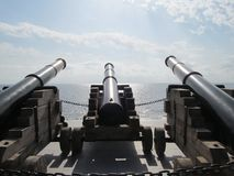 Cannons-3 cannons looking towards the sea in Pathos royalty free stock photo