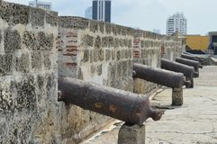 Cannons of cartagena stock photography