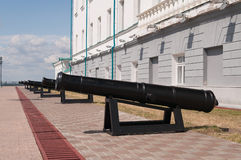 Cannons cast in the Ural factories in the Tobolsk Kremlin. Siber Royalty Free Stock Photos