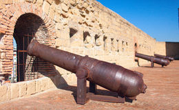 Cannons of Castel dell`Ovo Egg Castle Naples, Italy. Stock Image