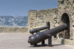 Cannons of the Castel dell'Ovo in Naples, Italy Royalty Free Stock Photo