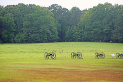 Cannons and deer on battlefield Royalty Free Stock Photos