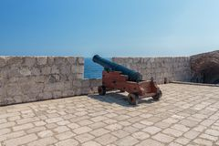 Cannons of the defensive fortress Lovrijenac. In old town of Dubrovnik, Croatia Royalty Free Stock Image
