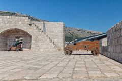Cannons of the defensive fortress Lovrijenac. In old town of Dubrovnik, Croatia Royalty Free Stock Photos