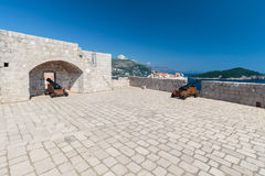Cannons of the defensive fortress Lovrijenac. In old town of Dubrovnik, Croatia Stock Photo