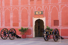Cannons on display at Chandra Mahal in Jaipur City Palace, Rajas Royalty Free Stock Photos