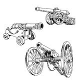 Cannons drawings. Old cannons drawings set on white background Stock Image