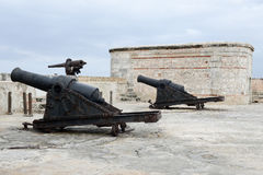 Cannons of El Morro fortress at Havana Stock Images