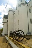 Cannons,flag and blair castle. Blair castle Royalty Free Stock Photos