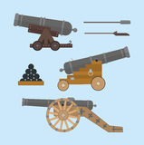 Cannons flat style. Most parts are not merged and can be removed or reorganized. EPS8 Stock Photos
