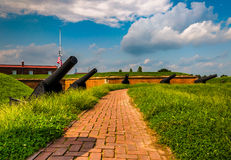 Cannons at Fort McHenry, Baltimore, Maryland. Royalty Free Stock Photography
