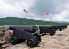 Cannons at Fort Ticonderoga. A row of cannons at Fort Ticonderoga, New York, taken in June 2010 royalty free stock image