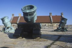 Cannons at Fort Ticonderoga, site of French and Indian wars, Lake Champlain, NY Royalty Free Stock Images