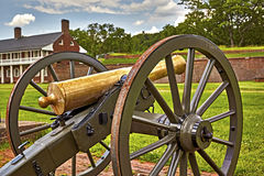 Cannons at Fort Washington with Captains Quarters in Background Stock Photos