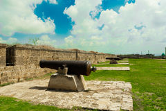 Cannons in the fortress of Napoleon Bonaparte Royalty Free Stock Images