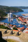 Cannons at Fredriksten Fort and Fredriksten view, Norway Royalty Free Stock Image