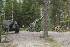 Cannons. In front line in the woods east Finland stock photos