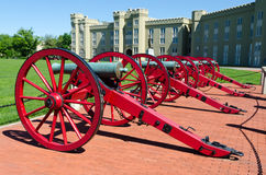Cannons in front of Virginia Military Institute building. Virginia Military Institute (VMI) is the oldest state-supported military college in the United States Stock Photography
