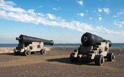 Cannons in Hellevoetsluis harbour Stock Images